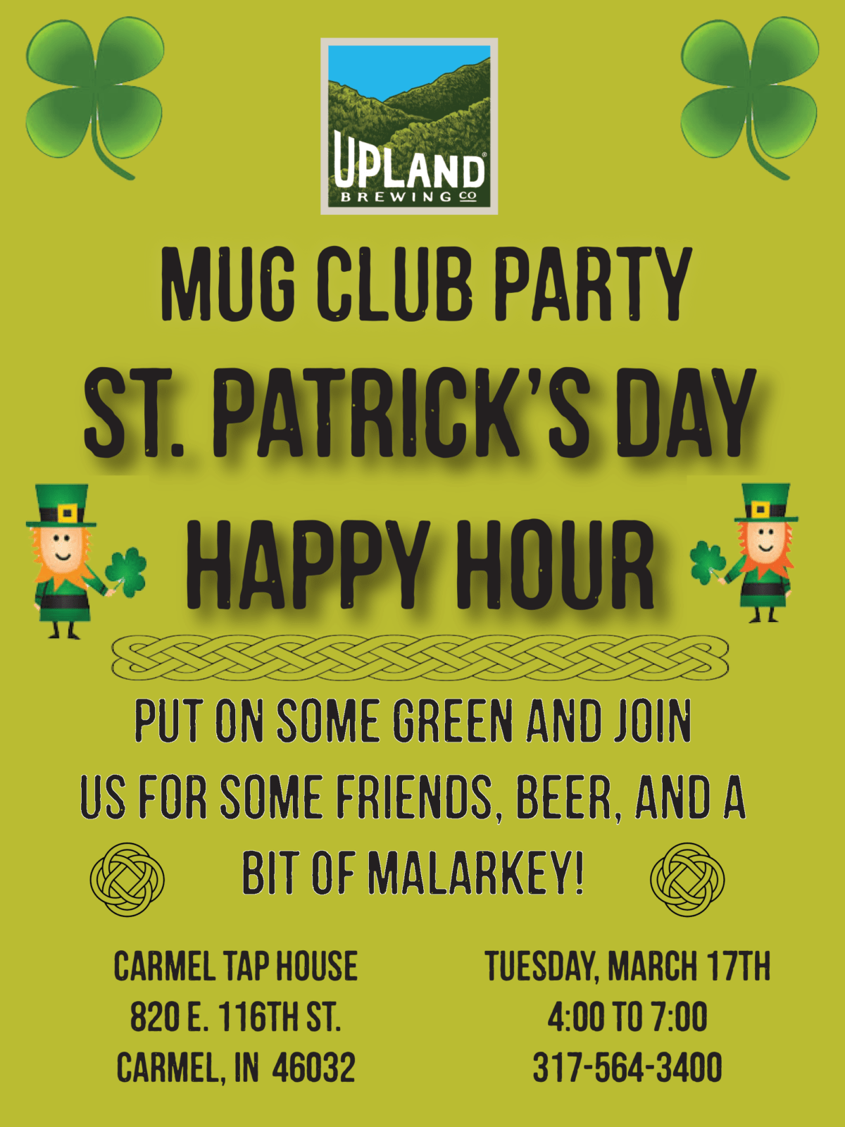 st. paddy's day mug club party - upland brewing co.
